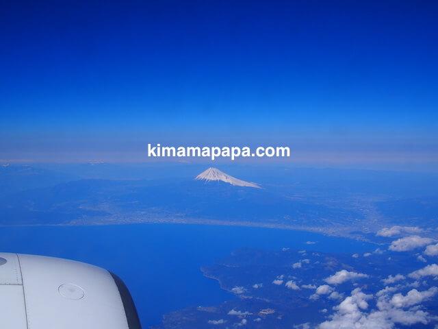 金浦空港から羽田空港に行く途中、富士山