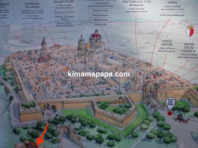 ローマ古美術館、地図