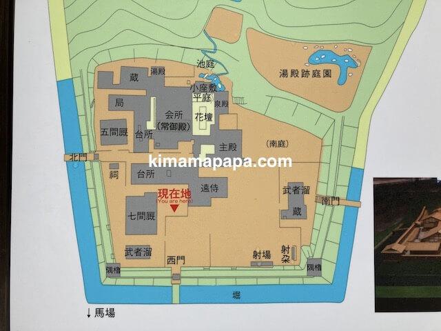 冬の朝倉氏遺跡、朝倉館跡の地図