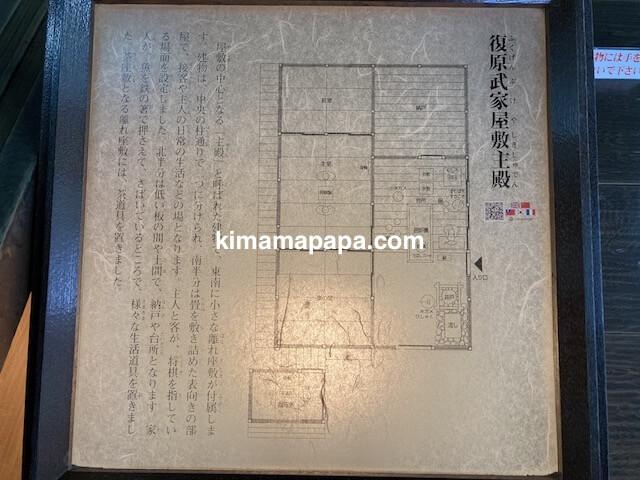 冬の朝倉氏遺跡、武家屋敷主殿の地図