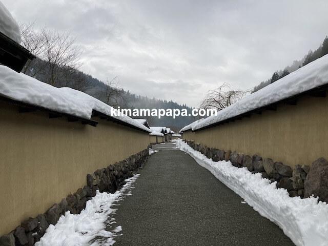 冬の朝倉氏遺跡、復原町並のソフトバンクCMの場所