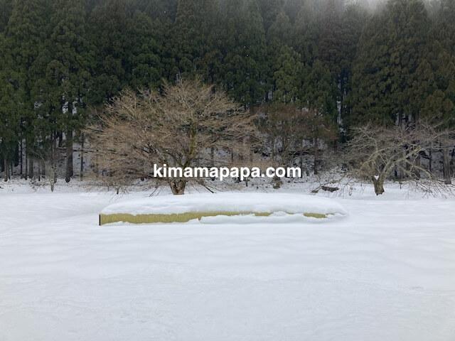 冬の朝倉氏遺跡、復原町並の上流階級宅の跡地