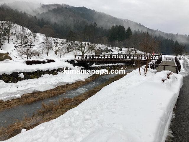 冬の朝倉氏遺跡、一乗谷川にかかる橋