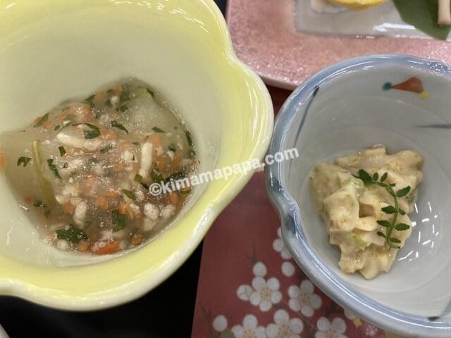 芦原グランドホテル、夕食の小鉢