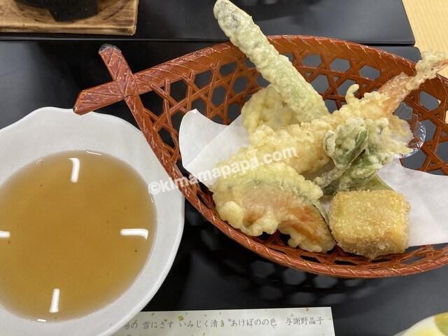 芦原グランドホテル、夕食の天ぷら