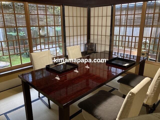 福井県越前市、うるしやの個室