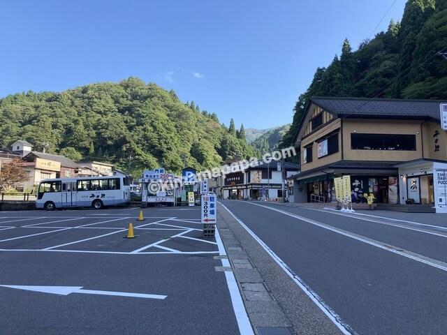 福井県、永平寺だるまぷりんの駐車場