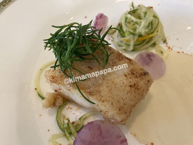 福井市ジャルダン、ランチコースのお魚料理