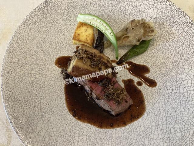 福井市ジャルダン、ランチコースのお肉料理