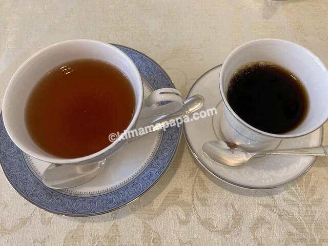 福井市ジャルダン、ランチコースの紅茶とコーヒー