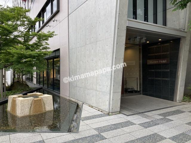 福井市、マンテンホテルの正面入口