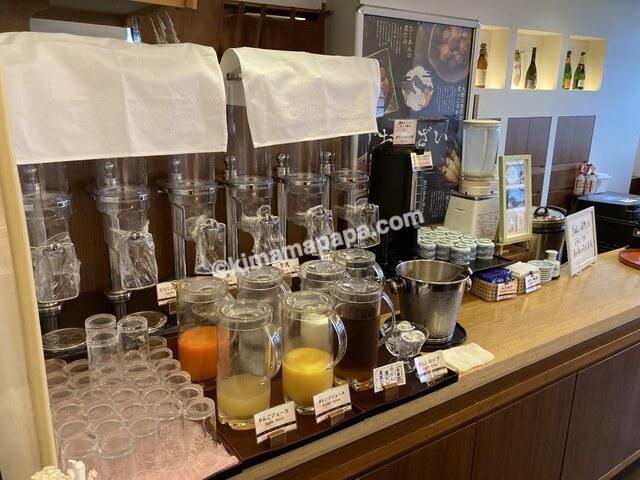 ホテルリバージュアケボノ、朝食のドリンクバー