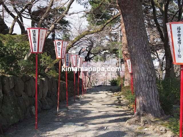 桜の季節、丸岡城から西側へ下る道