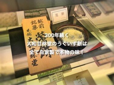 福井県三国町、大和甘林堂のうぐいす餅のまぶし粉