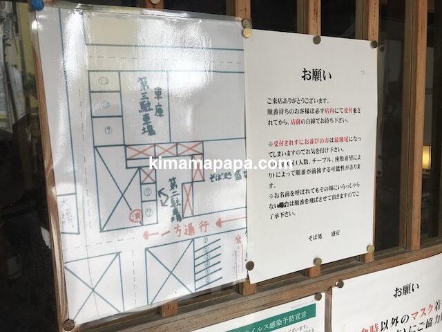 福井県三国町、そば処盛安の駐車場