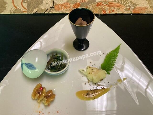 寿楽山、季節の日替わりご膳の前菜