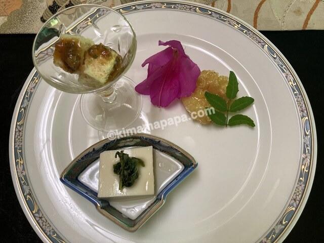 寿楽山、焼き鯖ご膳の前菜