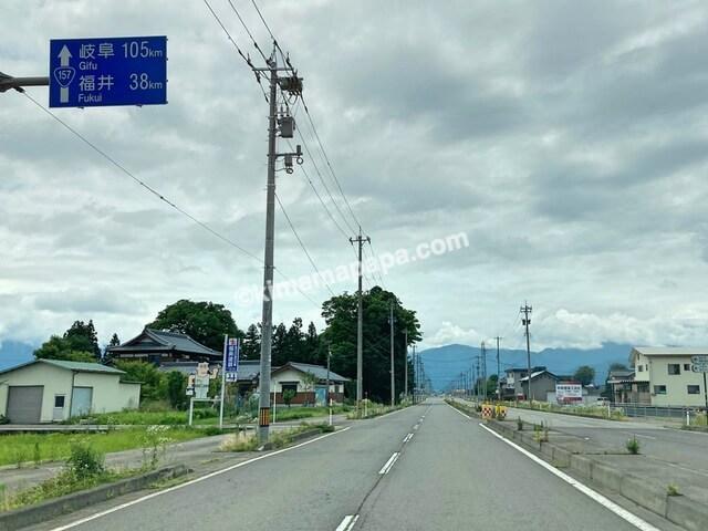 大野市、真邑までの道