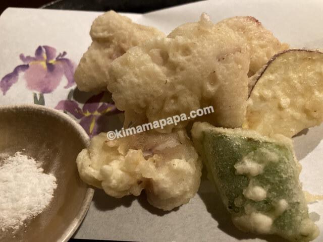 泰平、たい白子の天ぷら