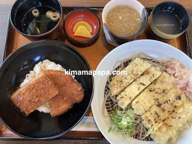福井県鯖江市、二男坊のソースカツ丼小盛とあげろしそば