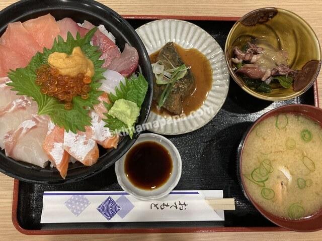 ふくい鮮いちば、群青の海鮮丼セット