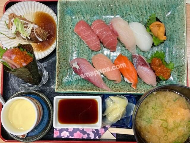 ふくい鮮いちば、群青の寿司定食