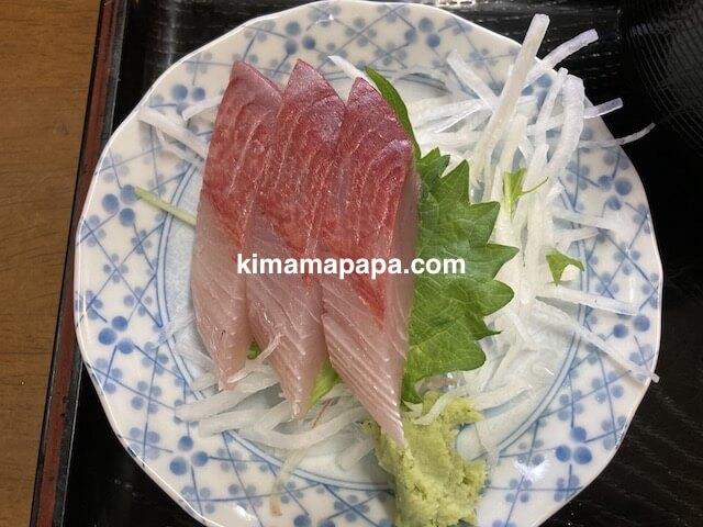 福井市、ふくい鮮いちばの喜多亭、鱈の照焼定食の刺身