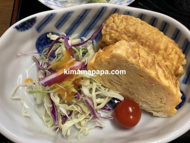 福井市、ふくい鮮いちばの喜多亭、鱈の照焼定食の玉子焼き