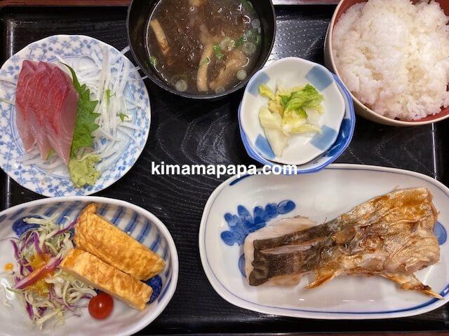 福井市、ふくい鮮いちばの喜多亭、鱈の照焼定食