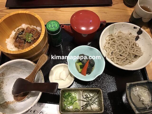 福井市、かくれ庵のひつまぶしとお蕎麦の膳