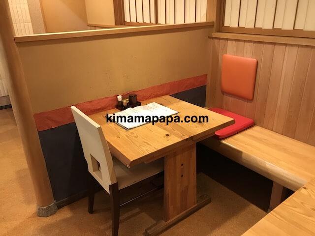 福井市、かくれ庵の2人用テーブル席