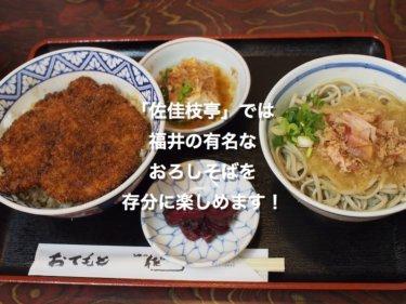 佐佳枝亭さんでは、福井の有名なおろしそばを存分に楽しめます!