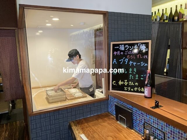 福井市、蕎麦Dining一福の蕎麦打ち場