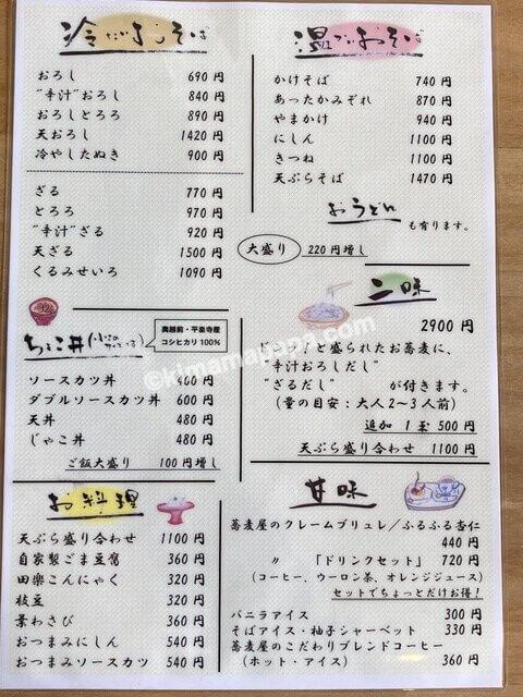 福井市、十九のメニュー