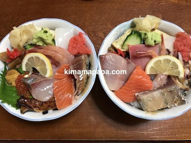 福井市、日本海寿司のランチ、上ちらしとちらし
