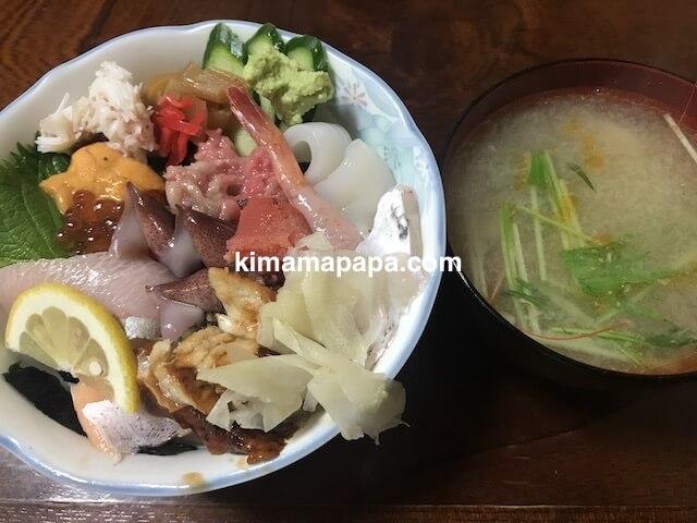 福井市、日本海寿司のランチの上ちらし