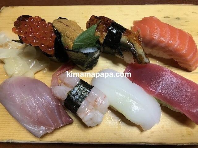 福井市、日本海寿司のランチの上にぎり