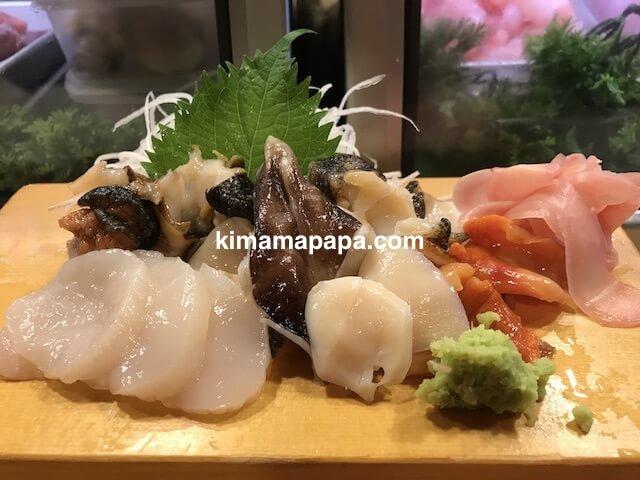 福井、吉野寿司の貝の盛り合わせ