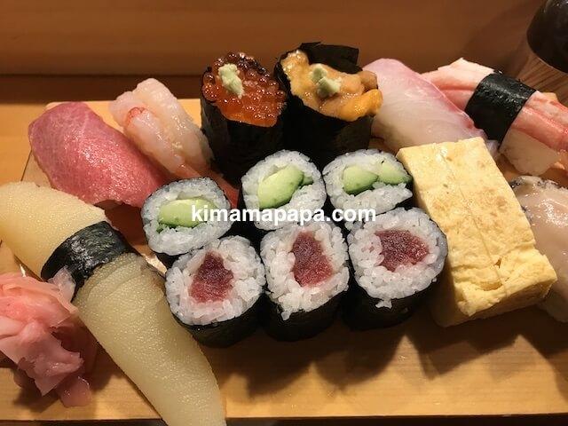 福井、吉野寿司の特上にぎり