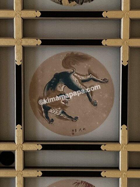 福井県永平寺の傘松閣、絵天井の間の獅子