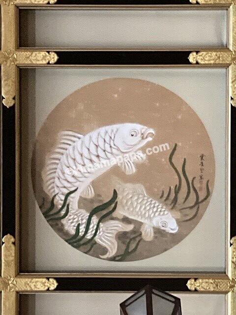 福井県永平寺の傘松閣、絵天井の間の鯉