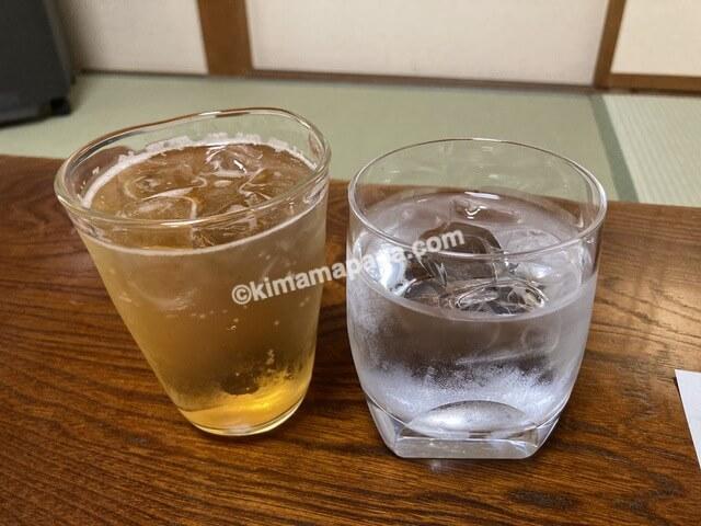 福井県若狭町、松喜の梅酒ソーダと芋焼酎