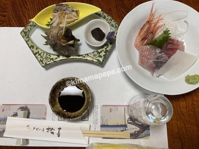 福井県若狭町、松喜の夕食(子供用)