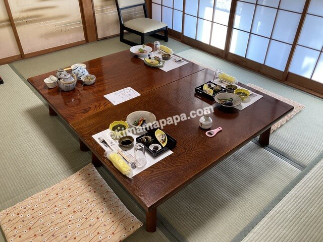 福井県若狭町、松喜の夕食お部屋