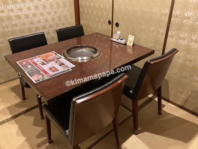 福井市、セナラのお座敷テーブル席