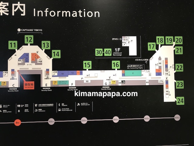 羽田第1ターミナル、北ウイングの地図