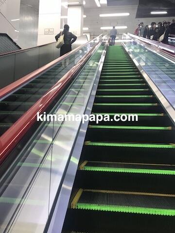 羽田第1ターミナル、京急線ホームからのエスカレーター