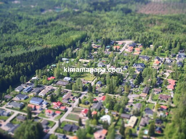 フィンエアーから見たフィンランドの街