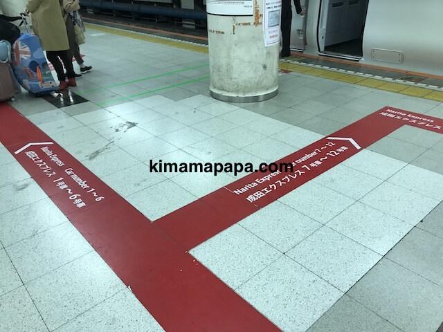 成田エクスプレス、東京駅のホーム