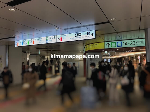 成田エクスプレス、東京駅のホームから地上階へ